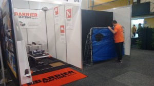 Barrier Matting Stand Being Set up